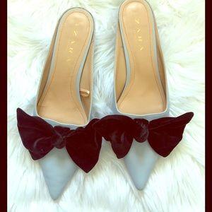 Zara light blue bow kitty heels size 41